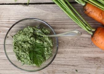 Песто из морковной ботвы и подсолнечных семечек